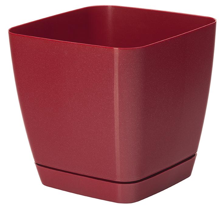 Doniczka kwadratowa + podstawka Toscana - 17 cm - czerwona metaliczna
