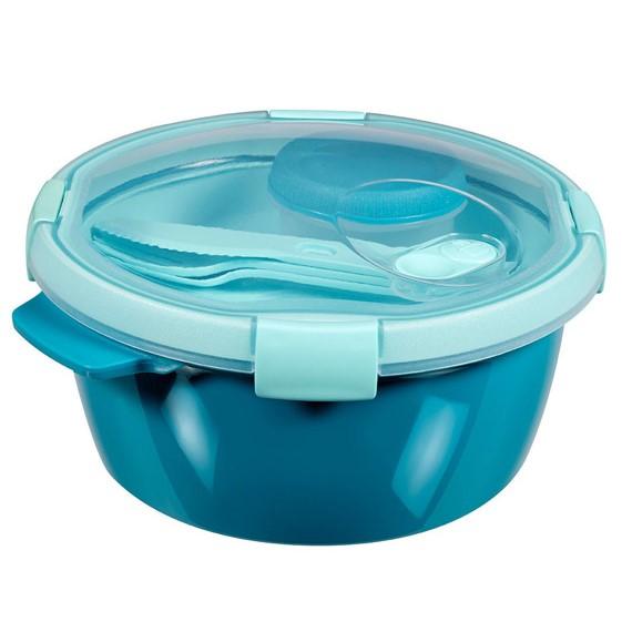 Pojemnik na ¿ywno¶æ okr±g³y ze sztuæcami i pojemnikiem na sos - Smart To Go Lunch - 1,6 litra - niebieski