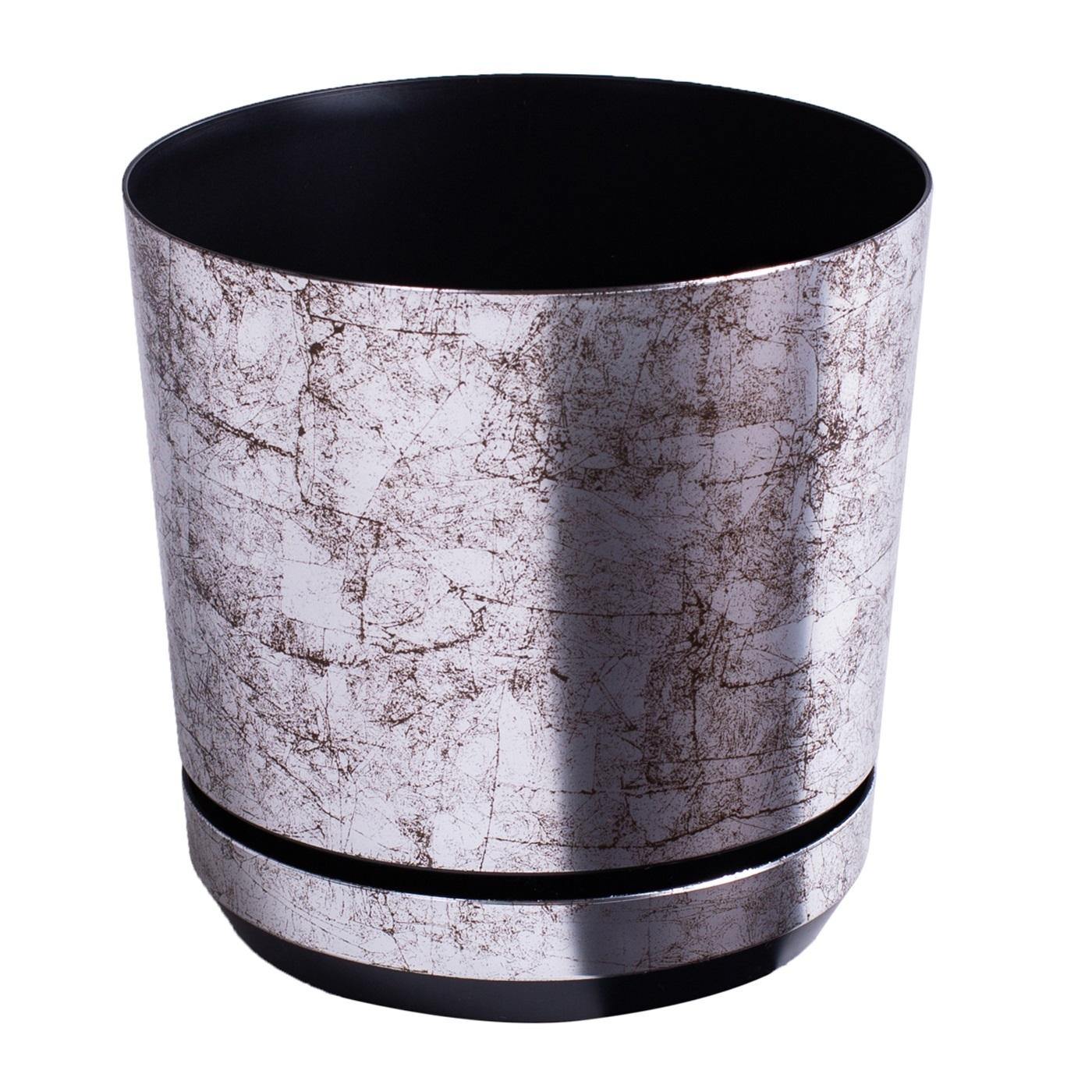 Doniczka okr±g³a Dekor - 14 cm - stare srebro