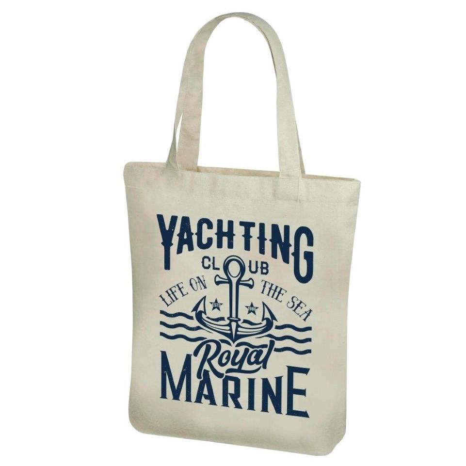 Torba bawe³niana na zakupy z d³ugimi r±czkami - 38 x 41 cm - Wzór morski, Yachting club