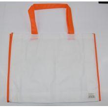Ekologiczna torba na zakupy - biała z pomarańczową lamówką