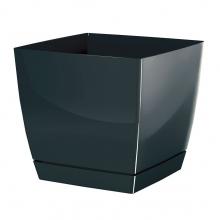 Doniczka kwadratowa + podstawka Coubi - 24 cm - grafit