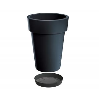 Lekka doniczka okrągła wysoka + podstawka Lofly Slim - 20 cm - antracyt