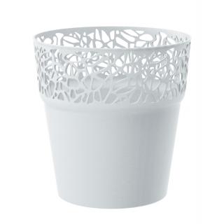 Osłonka z koronkowym wykończeniem, ażurowa Naturo - 12 cm - biała