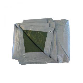 Plandeka - 4 x 6 m - srebrno-zielona