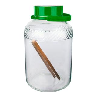 Słój ze szczypcami i plastikową pokrywą - doskonały na przetwory - 8 litrów