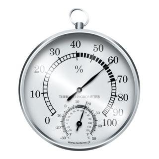 Stacja pogody z zawieszką - higrometr i termometr - srebrna