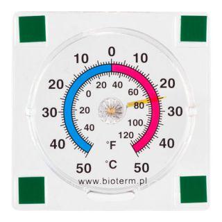 Termometr zewnętrzny - kwadratowy wskazówkowy - samoprzylepny - 77x77 mm
