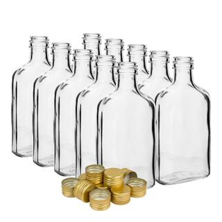 Zestaw butelek na nalewkę z zakrętkami - piersiówka - 200 ml - 10 szt.