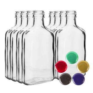 Zestaw butelek na nalewkę z zakrętkami - piersiówka - 100 ml - 8 szt.