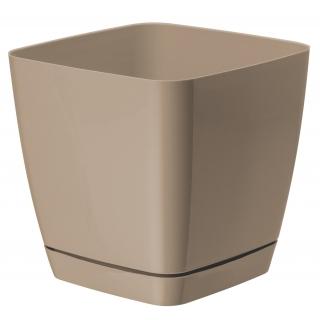 Doniczka kwadratowa + podstawka Toscana - 11 cm - beżowa (cafe latte)