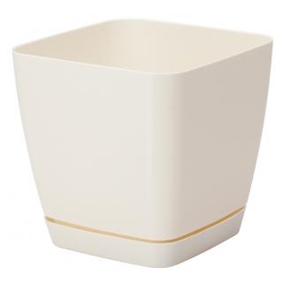 Doniczka kwadratowa + podstawka Toscana - 11 cm - kremowa