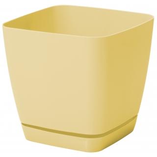 Doniczka kwadratowa + podstawka Toscana - 11 cm - żółta pastelowa