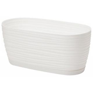 Doniczka podłużna + podstawka Sahara petit - 27 x 13 cm - biała