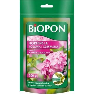 Nawóz wzmacniający kolor do hortensji czerwonej i różowej - Biopon - 200 g
