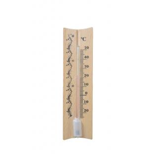 Termometr wewnętrzny drewniany - prosty - 40x150 mm - jasny brąz