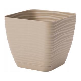 Doniczka kwadratowa + podstawka Sahara petit - 11 cm - cafe latte