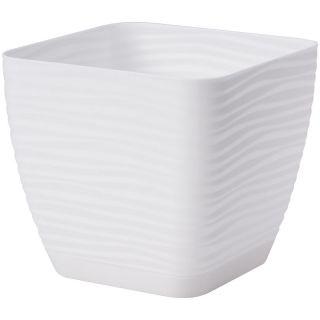 Doniczka kwadratowa + podstawka Sahara petit - 11 cm - biały