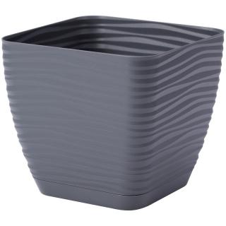 Doniczka kwadratowa + podstawka Sahara petit - 11 cm - antracyt