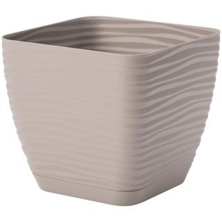 Doniczka kwadratowa + podstawka Sahara petit - 11 cm - szarobeżowy (taupe)