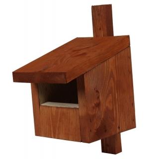 Budka lęgowa dla ptaków - kopciuszków, kosów, rudzików i pustułek - brązowa