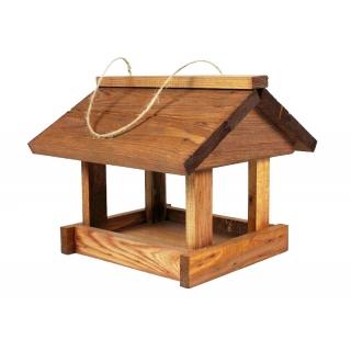 Karmnik dla ptaków - klasyczny do powieszenia - brązowy