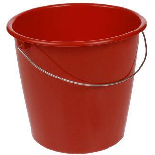 Wiadro z uchwytem metalowym - 10 litrów - czerwone