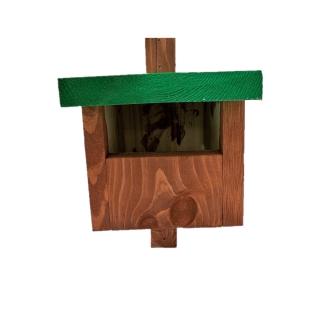 Budka lęgowa dla ptaków - kopciuszków, kosów, rudzików i pustułek - brązowa z zielonym dachem