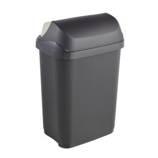 Kosz na śmieci z odchylaną pokrywą - Rasmus - 10 litrów - grafitowy
