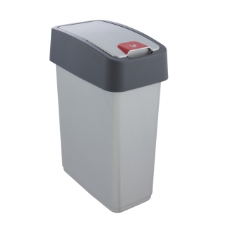 Kosz na śmieci z naciskaną pokrywą - Magne - 10 litrów - jasnosrebrny