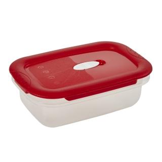 Pojemnik prostokątny na żywność - 0,6 litra - Micro-Clip - czerwony
