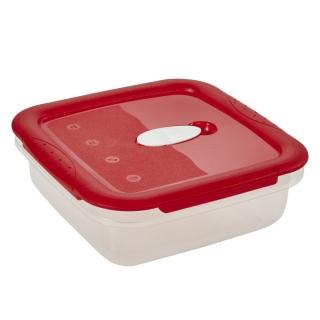 Pojemnik kwadratowy na żywność - 1 litr - Micro-Clip - czerwony