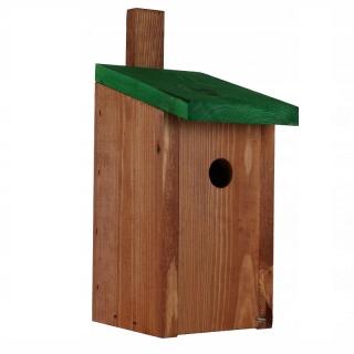 Budka lęgowa dla ptaków - sikorek, mazurków i muchołówek - brązowa z zielonym dachem