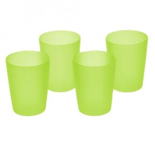 Zestaw kubków plastikowych - 4 x 0,25 litra - zielony