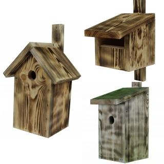 Budki lęgowe dla ptaków - zestaw 3 rodzajów - opalane