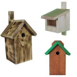 Budki lęgowe dla ptaków - zestaw 3 rodzajów - brązowa z zielonym dachem, surowa oraz opalana.