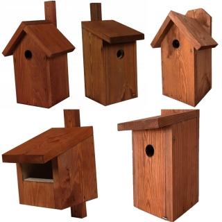 Budki dla ptaków - zestaw 5 rodzajów - brązowe