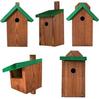 Budki dla ptaków - zestaw 5 rodzajów - brązowe z zielonym dachem