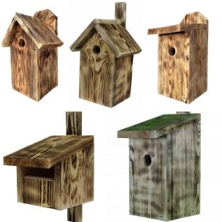 Budki dla ptaków - zestaw 5 rodzajów - opalane