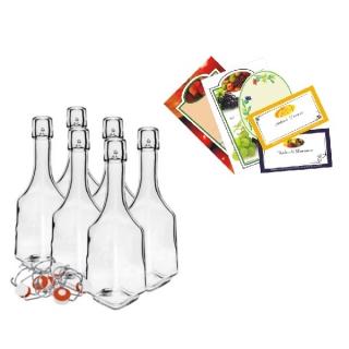 Zestaw butelek na nalewkę z etykietami samoprzylepnymi