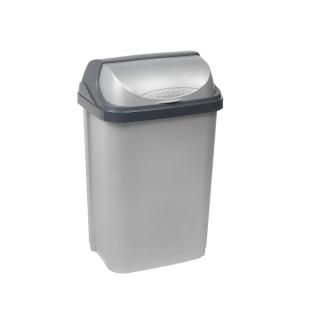 Kosz na śmieci z naciskaną pokrywą - Rasmus - 10 litrów - jasnosrebrny