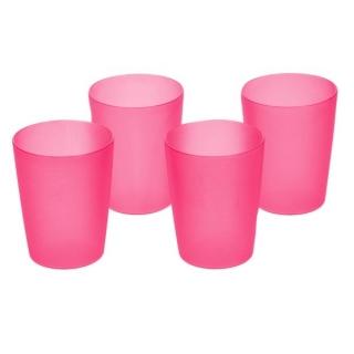 Zestaw kubków plastikowych - 4 x 0,25 litra - różowy