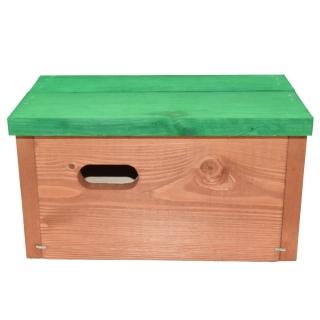 Budka dla jerzyków - brązowa z zielonym dachem
