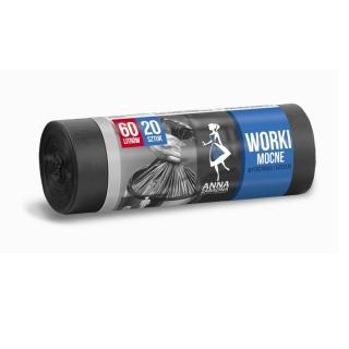 Worki na śmieci czarne - MOCNE - 60 litrów - 20 szt.- HDLD
