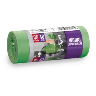 Worki na śmieci zielone - UNIWERSALNE - 35 litrów - 40 szt. - HDLD