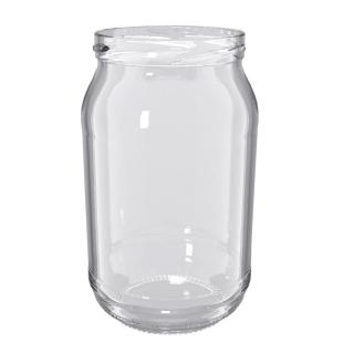 Słoje zakręcane szklane, słoiki - fi 82 - 900 ml + zakrętki białe - 8 szt.