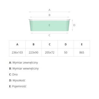 Foremka aluminiowa do pieczenia - podłużna - do murzynka, brownie i bloku czekoladowego  - 865 ml - 5 szt.