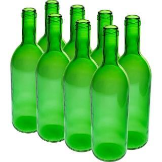 Butelka na wino - zielona - 750 ml - 8 szt.