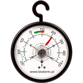 Termometr do lodówek i zamrażarek - okrągły wskazówkowy - z zawieszką czarny