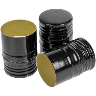 Zakrętki do butelek - fi 31,5 mm - czarne - 100 szt.
